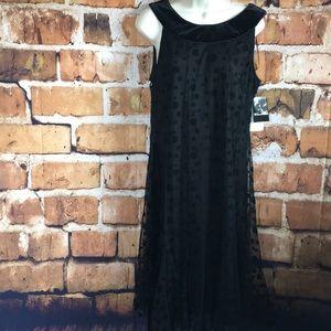 Sandra Darren Black polka dot and velvet neck 12